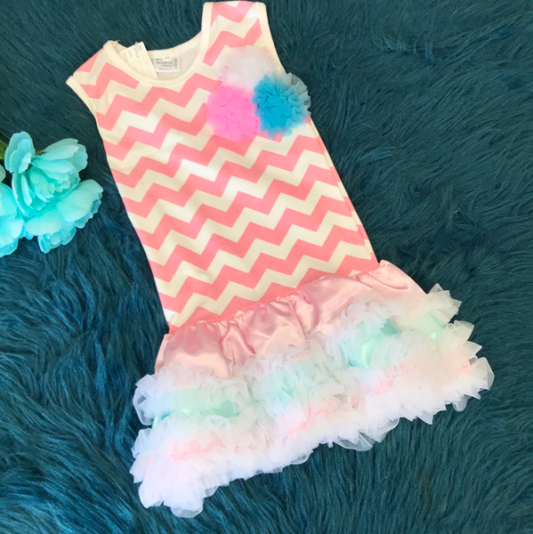 Light Pink Chevron Tutu Dress w/ Pompoms CLS