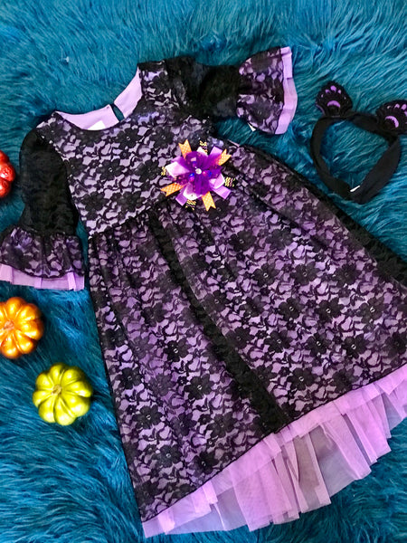Fall Halloween Purple Lace Dress With Cat Ears - JEN'S KIDS BOUTIQUE