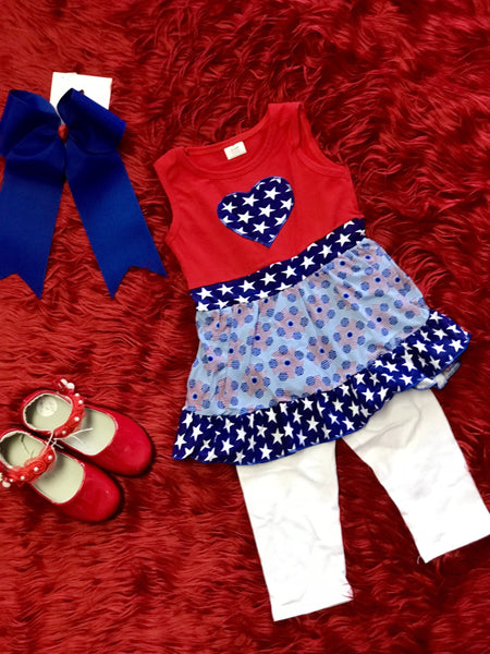 2018 Summer 4th Of July Red White & Blue Heart Capri Set - JEN'S KIDS BOUTIQUE