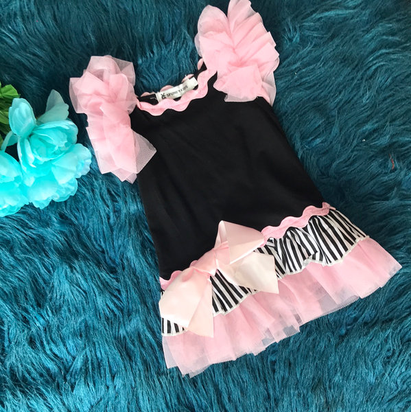 Spunky Kids Black & Pink Dress w/ Tulle CLS - JEN'S KIDS BOUTIQUE