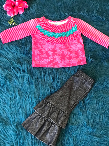Peaches and Cream Hot Pink and Denim Pant Set - JEN'S KIDS BOUTIQUE