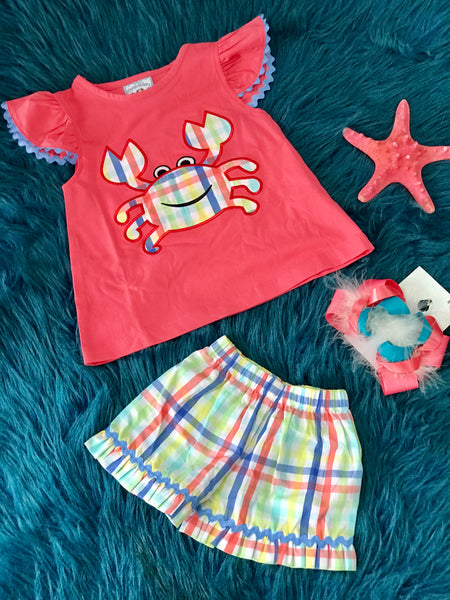2019 Spring & Summer Three Sisters Coral Colorful Crab Girls Short Set - JEN'S KIDS BOUTIQUE