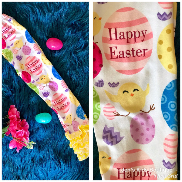 Spring Easter Egg Yellow Ruffle Legging Set - JEN'S KIDS BOUTIQUE