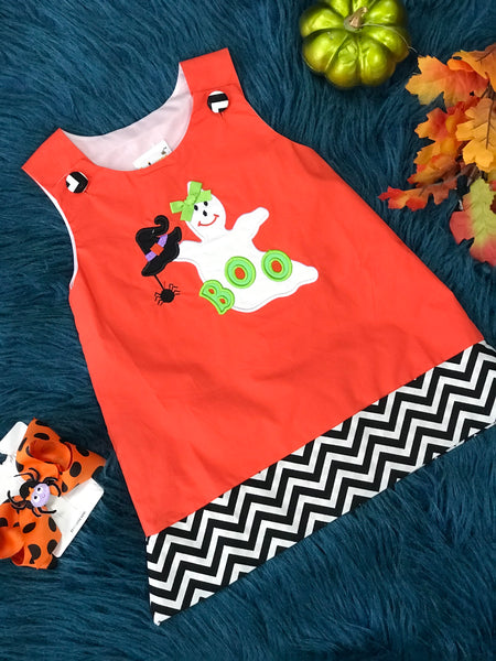 B & A Adorable Ghost Applique Halloween Dress H - JEN'S KIDS BOUTIQUE