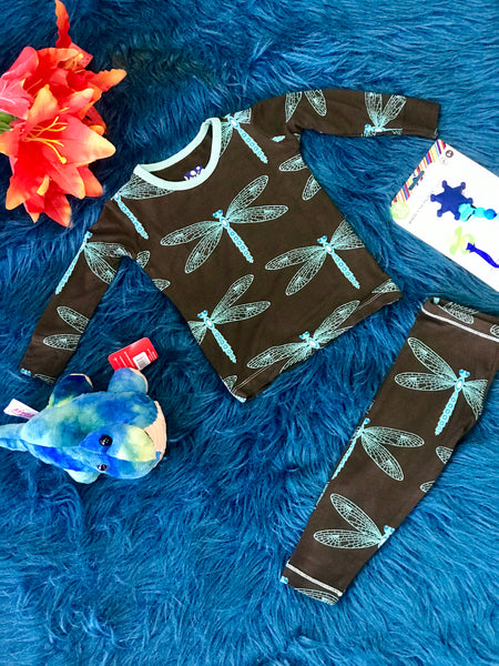 New Fall Kickee Pants Print Long Sleeve  Pajamas Set (Giant DragonFly) - JEN'S KIDS BOUTIQUE