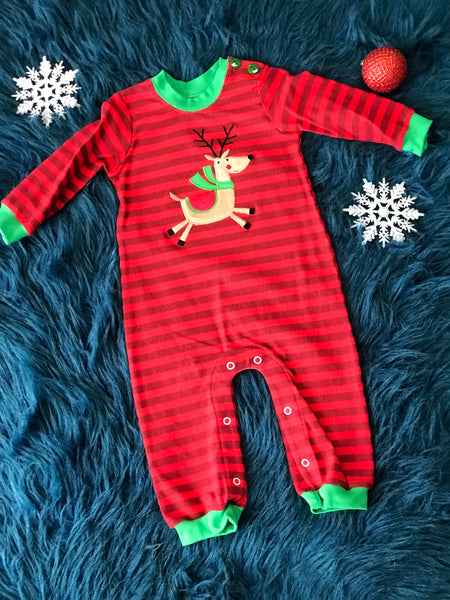 Walley And Willie Christmas Reindeer Romper - JEN'S KIDS BOUTIQUE