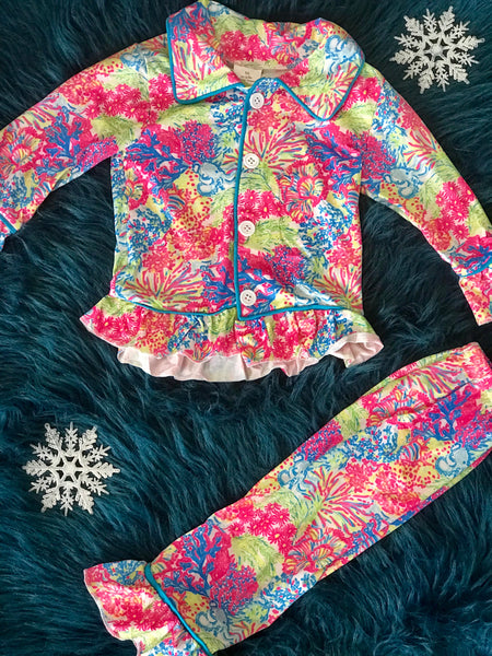 2018 Fall Colorful Holiday Button Down Cotton Pajamas - JEN'S KIDS BOUTIQUE