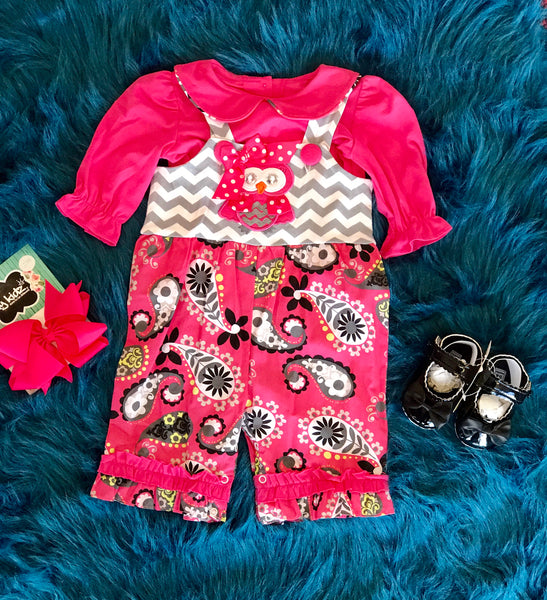 True Hot Pink Chevron Owl Romper Set CL - JEN'S KIDS BOUTIQUE