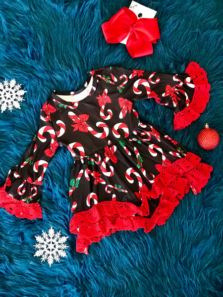 Christmas Black & Red Candycane Long Sleeve Dress With Lace Ruffles - JEN'S KIDS BOUTIQUE