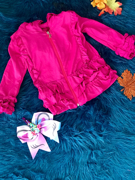 New Fall & Holiday Hot Pink Ruffle Cotton Jacket With Hood C - JEN'S KIDS BOUTIQUE