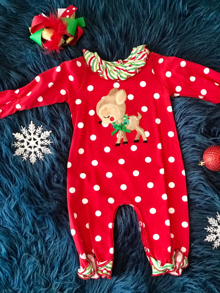 Molly & Millie By Peaches N Cream Christmas Reindeer Infant Romper - JEN'S KIDS BOUTIQUE