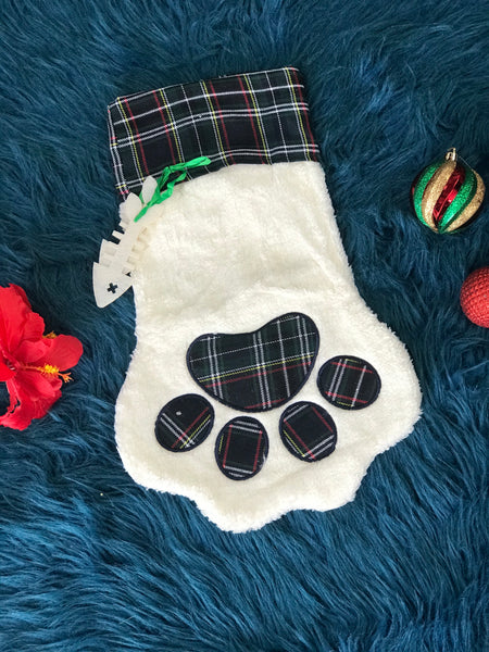 New Christmas Navy Plaid Pet Paw Christmas Stocking - JEN'S KIDS BOUTIQUE