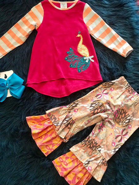 Peaches N Cream Colorful Peacock Pant Set - JEN'S KIDS BOUTIQUE
