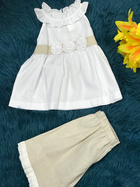 Banana Split Summer Linen Capri Set w/Flowers Capri Set C - JEN'S KIDS BOUTIQUE