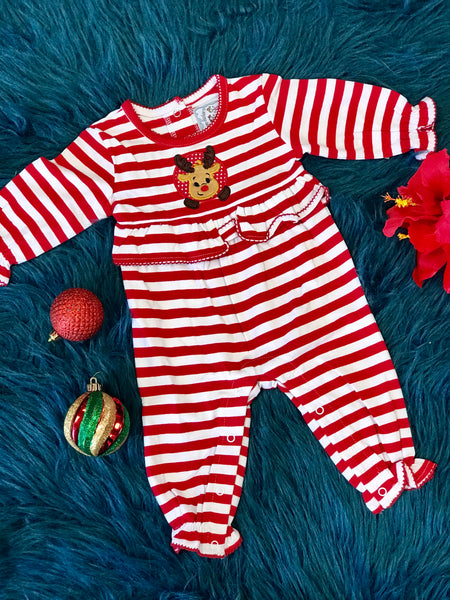 New Christmas Three Sisters Girls Red & White Stripped Reindeer Applique Nit Romper - JEN'S KIDS BOUTIQUE