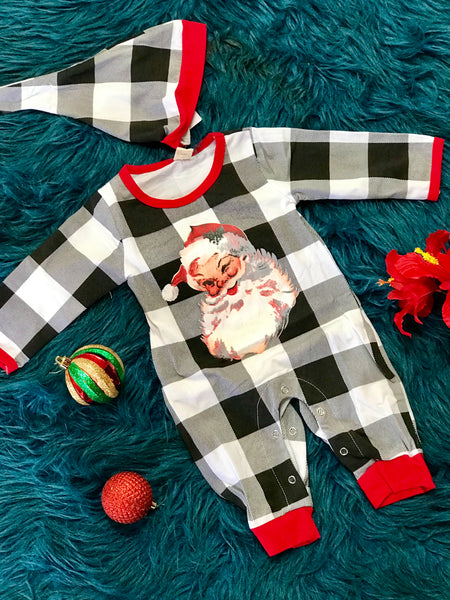 New Christmas Boys Plaid Santa Long All - JEN'S KIDS BOUTIQUE