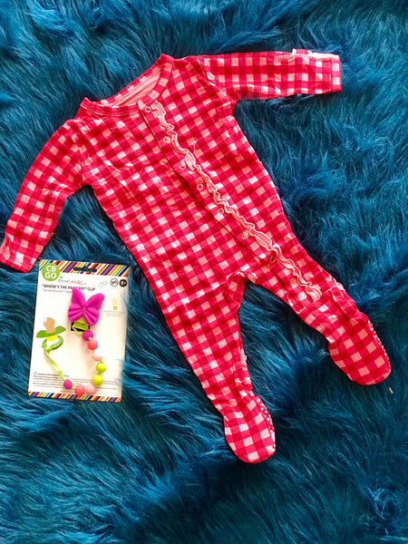 Kickee Pants Red Flag Gingham Footie - JEN'S KIDS BOUTIQUE