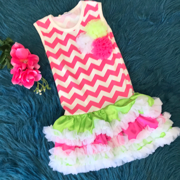 Hot Pink Chevron Tutu Dress w/ Pompoms CLS
