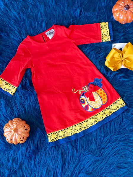 2018 Fall Thanksgiving Burnt Orange Pumpkin Dress - JEN'S KIDS BOUTIQUE