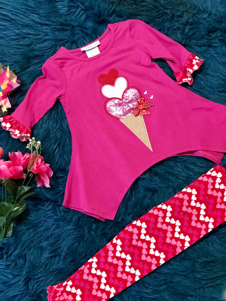 Bonnie Jean Valentines Ice Cream Set - JEN'S KIDS BOUTIQUE