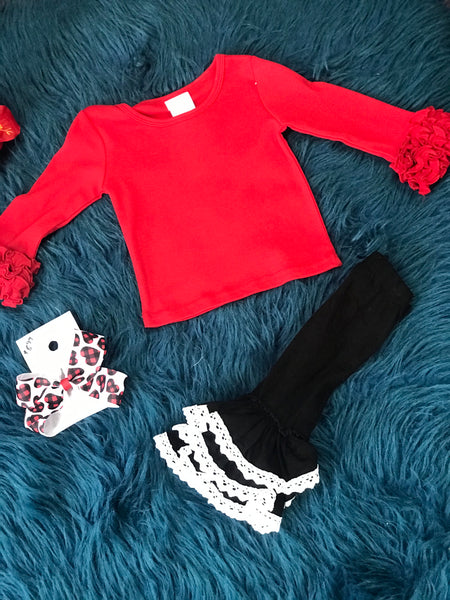 New Solid Red Long Sleeve Icing Ruffle Shirt - JEN'S KIDS BOUTIQUE