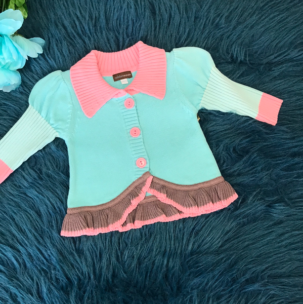 Rabbit Moon Blue & Pink Sweater