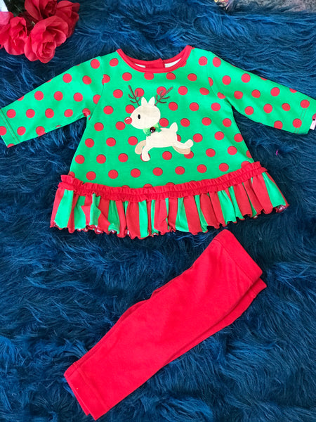 Molly & Millie Christmas Red/Green Polkadot Reindeer Legging Set. CH - JEN'S KIDS BOUTIQUE
