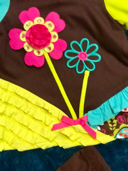 2018 Fall Cute Brown Multi Flower Pant Set - JEN'S KIDS BOUTIQUE