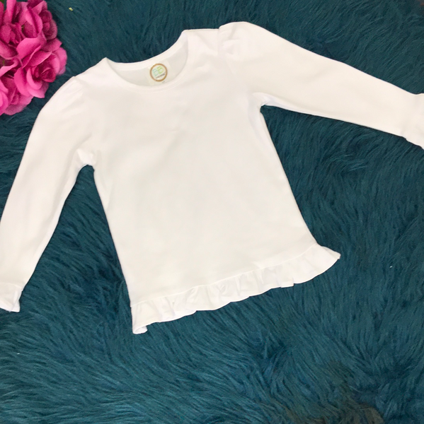 Blanke Boutique White Long Sleeve Slight Ruffle - JEN'S KIDS BOUTIQUE