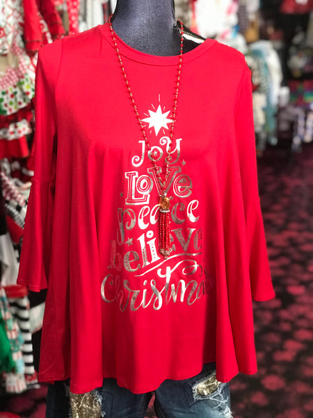 Christmas Women's Red Word Tree Shirt CH - JEN'S KIDS BOUTIQUE