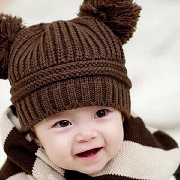 Fall Knit Pom Pom Hat Tan - JEN'S KIDS BOUTIQUE