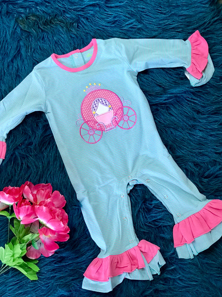 New Fall Be Mine Applique Stripped Blue & Pink Carriage Girls Ruffle Romper - JEN'S KIDS BOUTIQUE