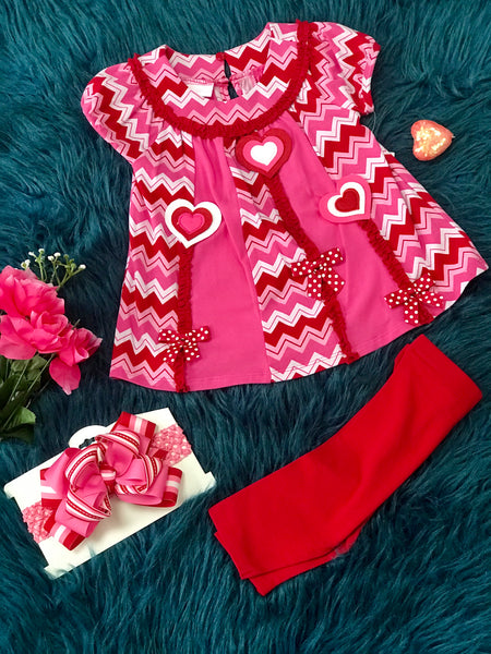 Valentines Jessica Ann, Pink w/Red Hearts Set - JEN'S KIDS BOUTIQUE