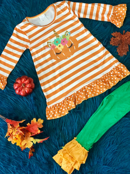 New Fall Halloween Unicorn Pumpkin Pant Set