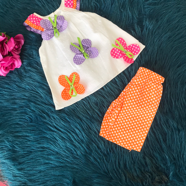 Rare Editions White & Ribbon Butterfly & Orange Pant Set - JEN'S KIDS BOUTIQUE