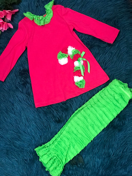 Christmas Hot Pink & Lime Ruffle Candy Cane Pant Set CH - JEN'S KIDS BOUTIQUE