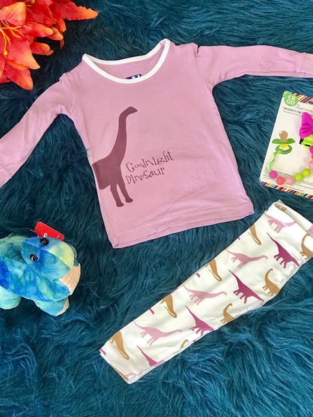 New Fall Kickee Pants Print Long Sleeve  Pajamas Set (Natural Goodnight Dinosaur) - JEN'S KIDS BOUTIQUE