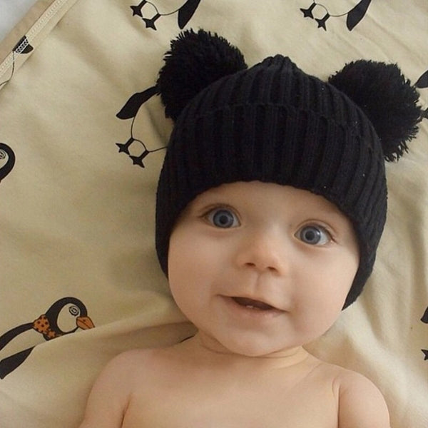 Fall Knit Pom Pom Hat Black - JEN'S KIDS BOUTIQUE