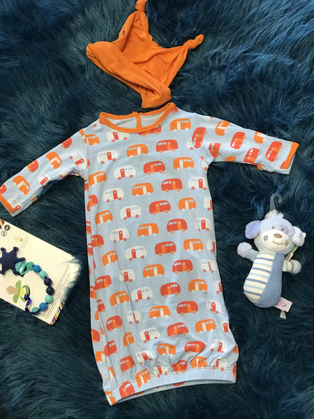 2018 Spring One Kickee Pants Pond Camper Layette Gown Converter & Knot Hat - JEN'S KIDS BOUTIQUE