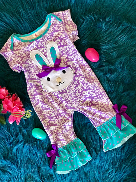 Spring Easter Purple Bunny Romper - JEN'S KIDS BOUTIQUE