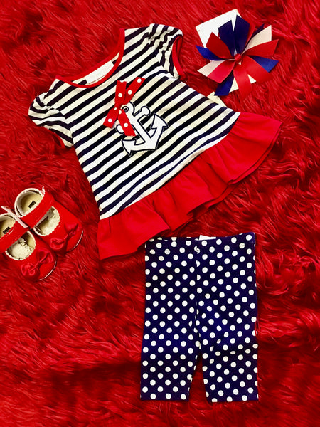 Bonnie Jean Red White and Blue anchor dress with leggings - JEN'S KIDS BOUTIQUE
