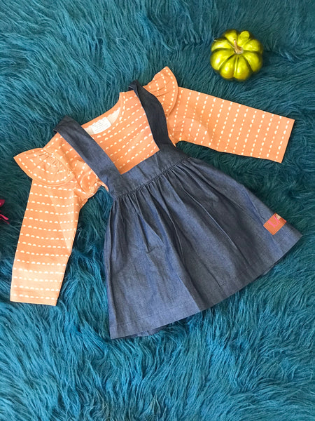 Millie Jay New Fall Chambray Denim & Nutmeg Top & Overall Skirt CL - JEN'S KIDS BOUTIQUE