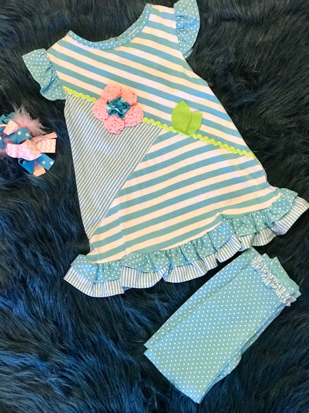 Spring Fun Aqua Stripped Flower Pant Set - JEN'S KIDS BOUTIQUE