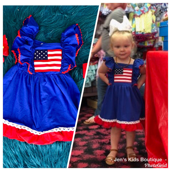 2019 Summer 4th Of July Adorable royal blue Flag Dress - JEN'S KIDS BOUTIQUE
