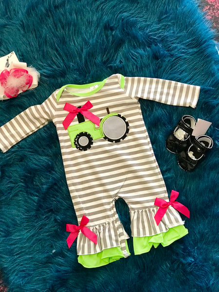 2018 Fall My Little Green Tractor Infant Ruffle Girls Romper - JEN'S KIDS BOUTIQUE