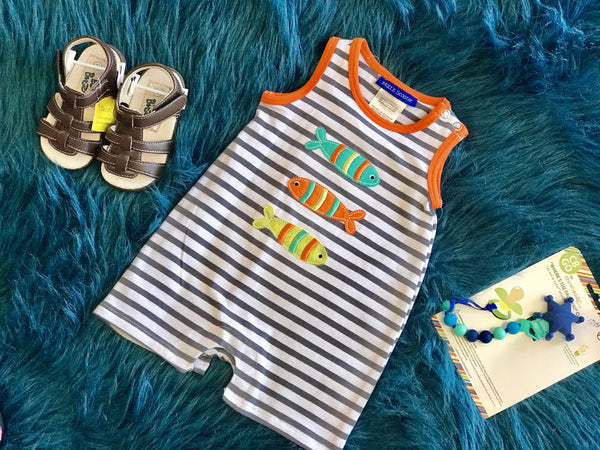 2018 Summer Boys Fun Fish Infant Romper - JEN'S KIDS BOUTIQUE
