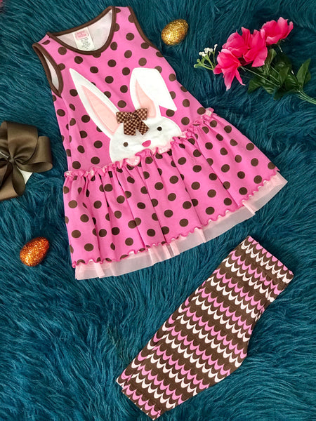 6028a9f4c2637 Easter Polka Dot Infant Brown Bunny Set With Capri Leggings By Peaches N  Cream - JEN'S