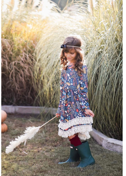 New Fall Mustard Wild Berries Boho Fringe Dress - JEN'S KIDS BOUTIQUE