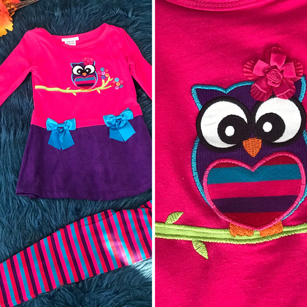 Fall Pink Owl Outfit - JEN'S KIDS BOUTIQUE