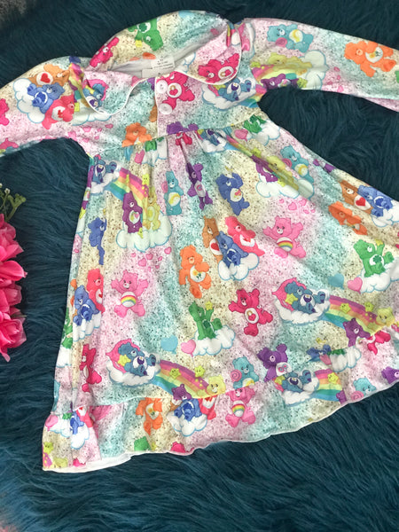 New Fall Girls Care Bears Soft Night Gown - JEN'S KIDS BOUTIQUE
